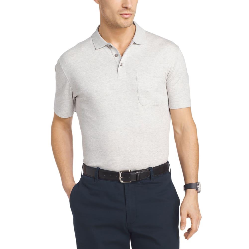 VAN HEUSEN Men's Solid Interlock Polo Short-Sleeve Polo - GRY HTR-060