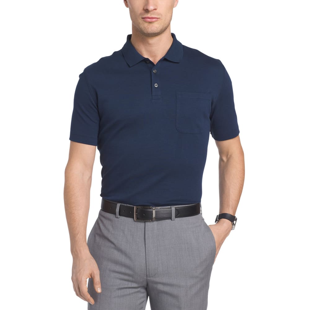 VAN HEUSEN Men's Solid Interlock Polo Short-Sleeve Polo - BLU BLK IRIS-489