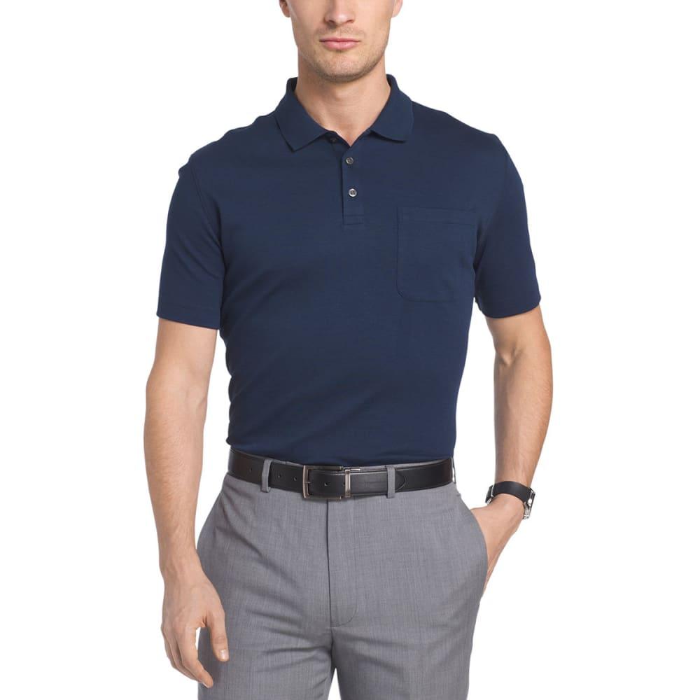 VAN HEUSEN Men's Solid Interlock Polo Short-Sleeve Polo - BLU BLK IRIS-489