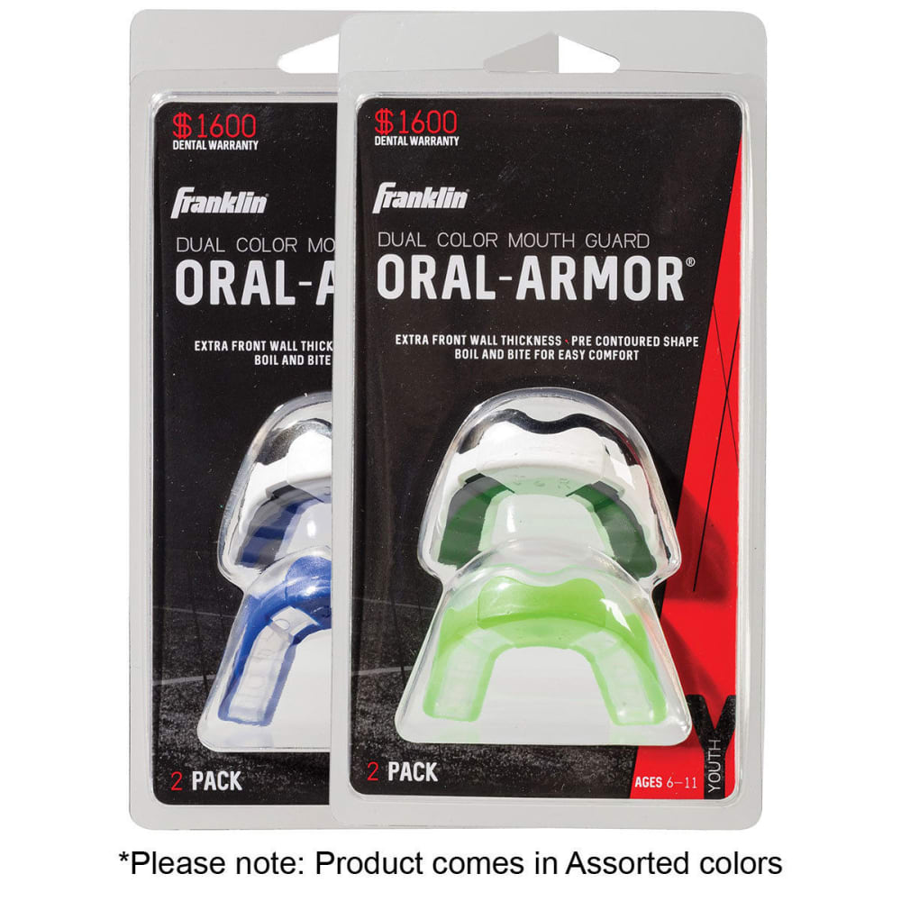 FRANKLIN Youth Deluxe Mouth Guard, 2 Pack NO SIZE
