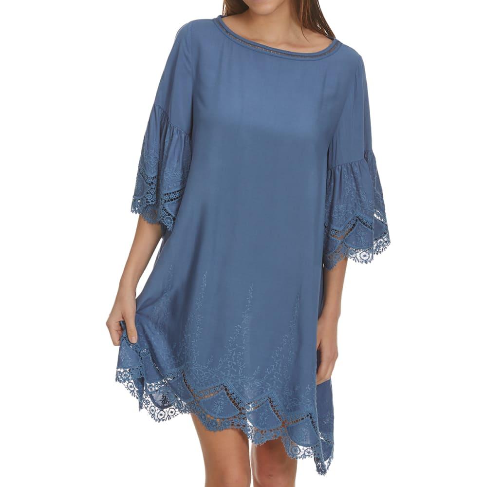 CRIMSON IN GRACE Women's Lace Sleeve Dress - DENIM BLUE