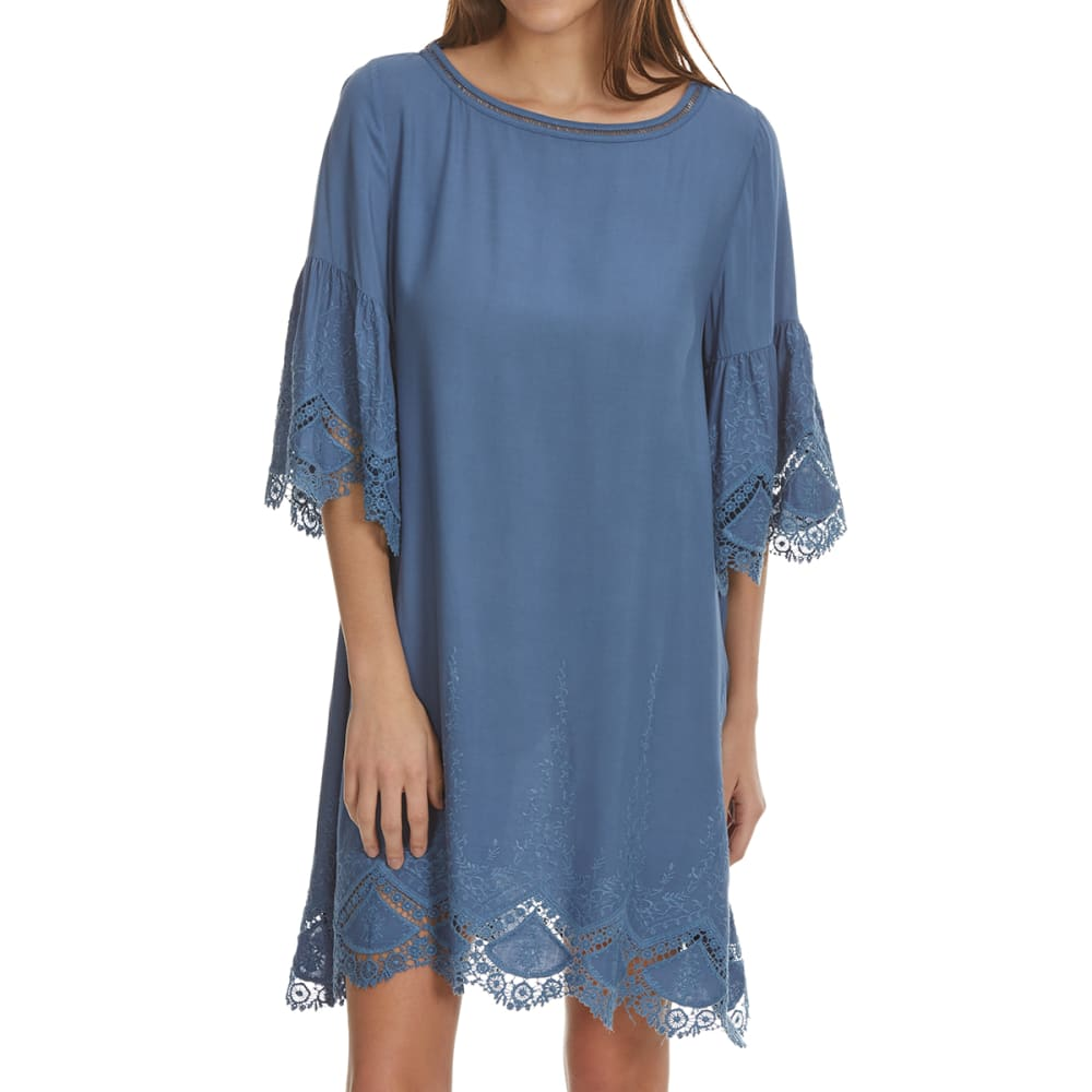CRIMSON IN GRACE Women's Lace Sleeve Dress - DENIM BLUE