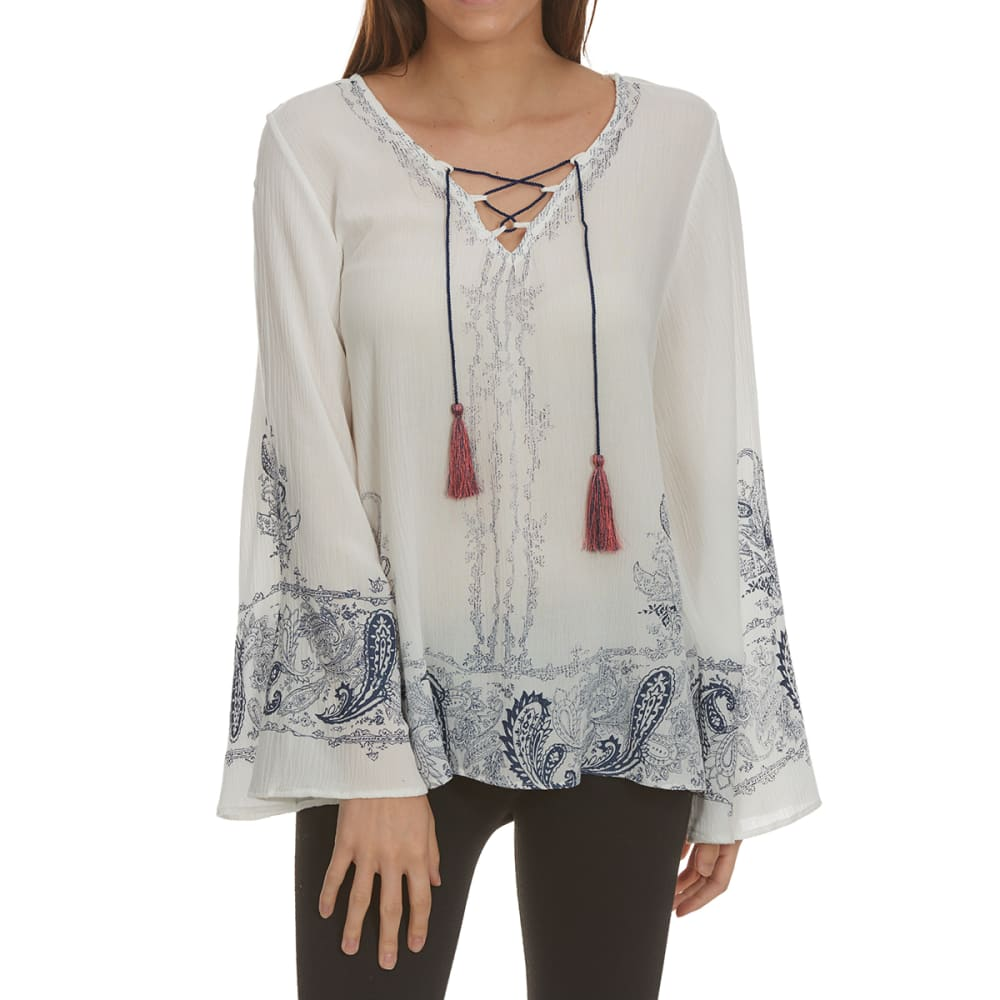 CRIMSON IN GRACE Women's Print Lace-Up Bell Long-Sleeve Top - CLEAN WHITE