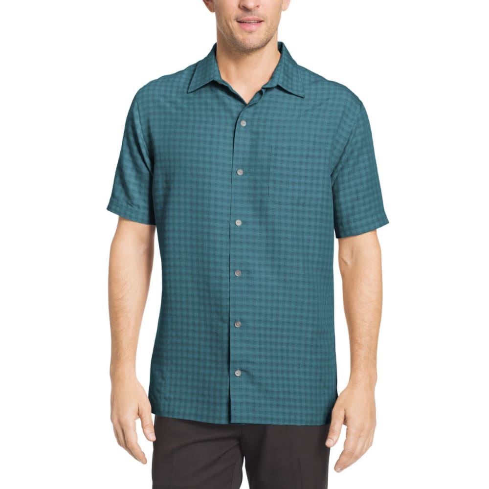 VAN HEUSEN Men's Printed Rayon Short-Sleeve Shirt - AQU YORKTOWN BLU-446