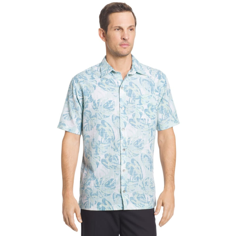 VAN HEUSEN Men's Printed Rayon Poly Short-Sleeve Shirt - AQU PLUME-476