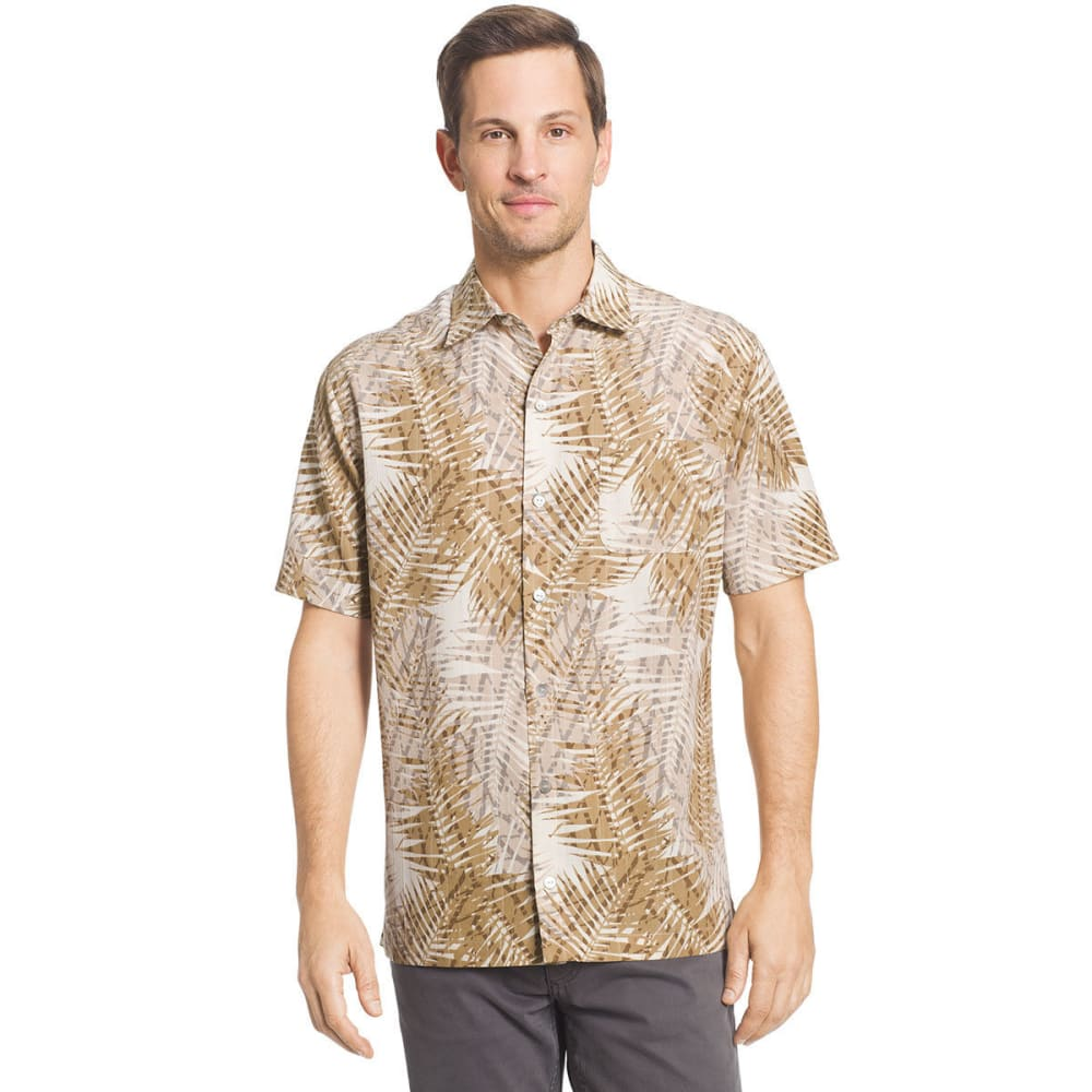 VAN HEUSEN Men's Printed Rayon Poly Short-Sleeve Shirt - KHA FAVA-265