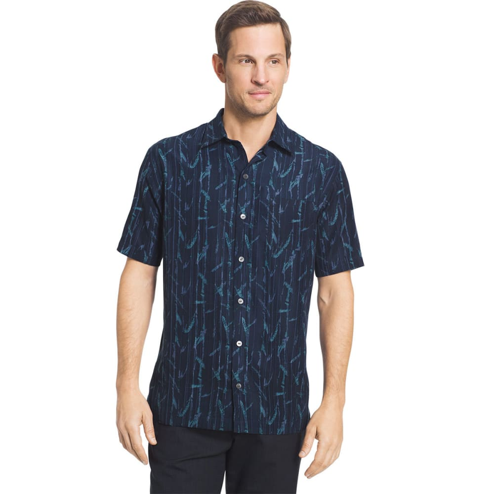 VAN HEUSEN Men's Short Sleeve Woven Shirt - BLU BLK IRIS-489