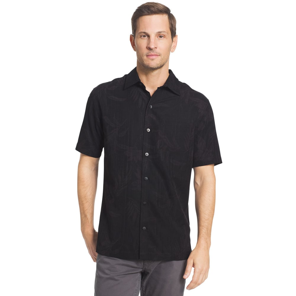 VAN HEUSEN Men's Oasis Printed Short-Sleeve Shirt - BLACK-001