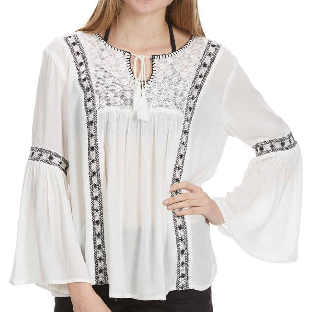 OVERDRIVE Women's Bell Sleeve Peasant Blouse - IVORY