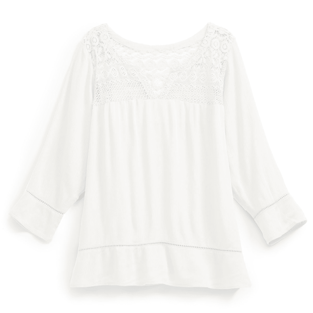 OVERDRIVE Women's Lace Yoke Splitneck Blouse - IVORY