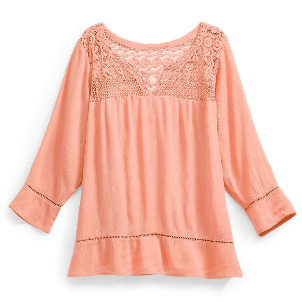 OVERDRIVE Women's Lace Yoke Splitneck Blouse - SALMON