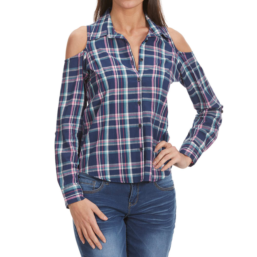OVERDRIVE Women's Plaid Cold-Shoulder Long-Sleeve Shirt - P547-NAVY