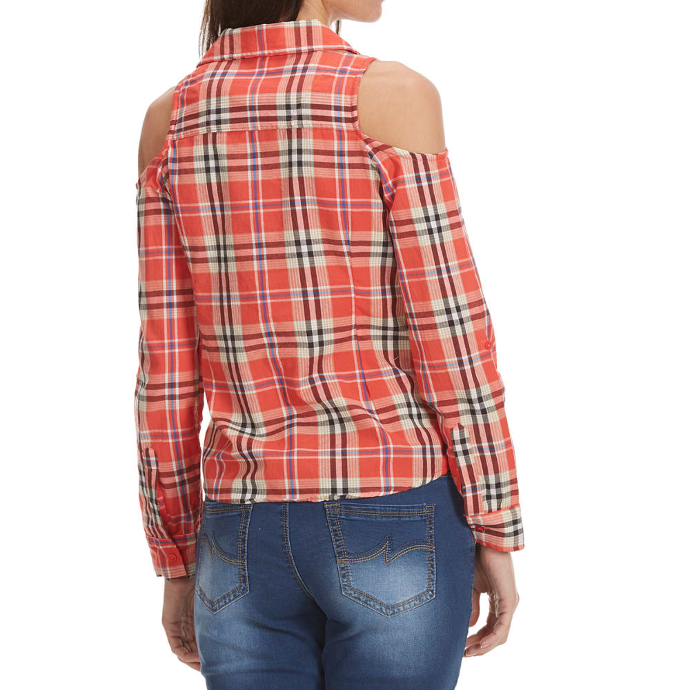 OVERDRIVE Women's Plaid Cold-Shoulder Long-Sleeve Shirt - 5190-CORAL