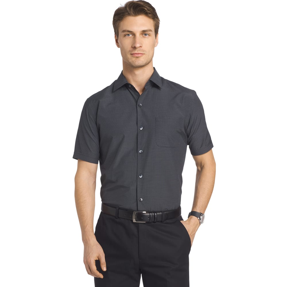 VAN HEUSEN Men's Traveler Small Plaid Short-Sleeve Shirt - BLACK-001