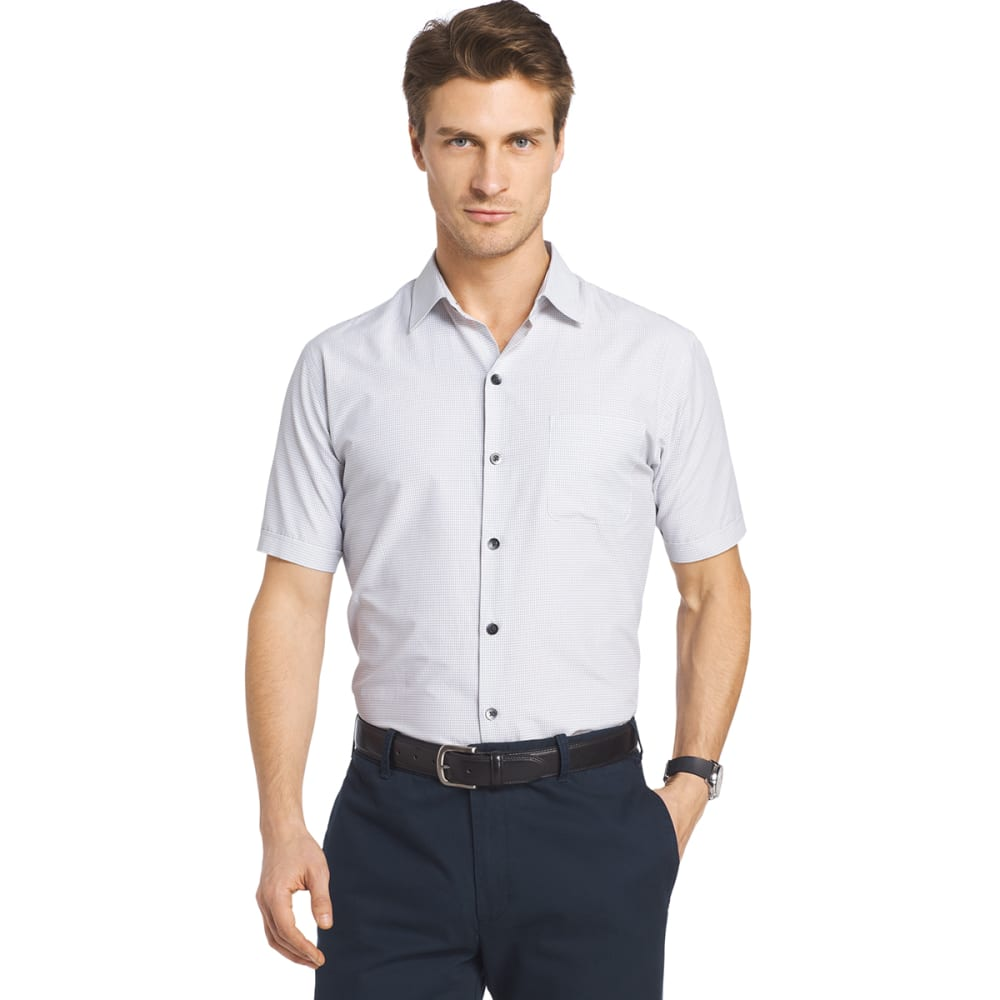 VAN HEUSEN Men's Traveler Small Plaid Short-Sleeve Shirt - BRIGHT WHT-110
