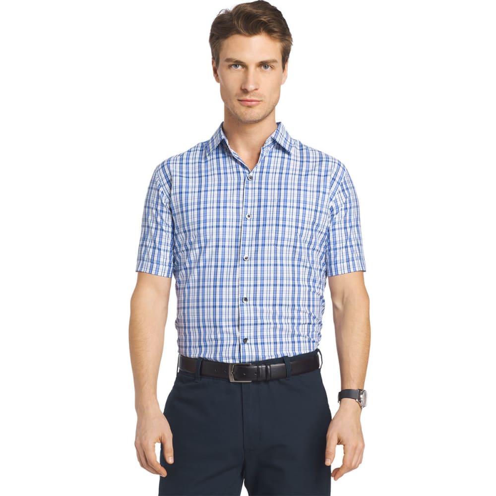 VAN HEUSEN Men's Traveler Medium Plaid Short-Sleeve Shirt - BLU DEPTHS-410