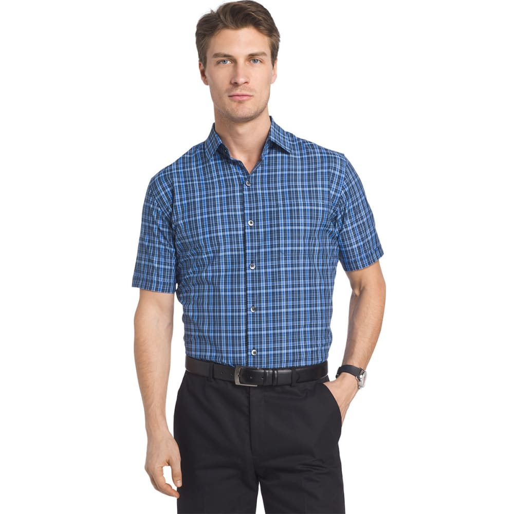 VAN HEUSEN Men's Traveler Medium Plaid Short-Sleeve Shirt - FADED CADET-496