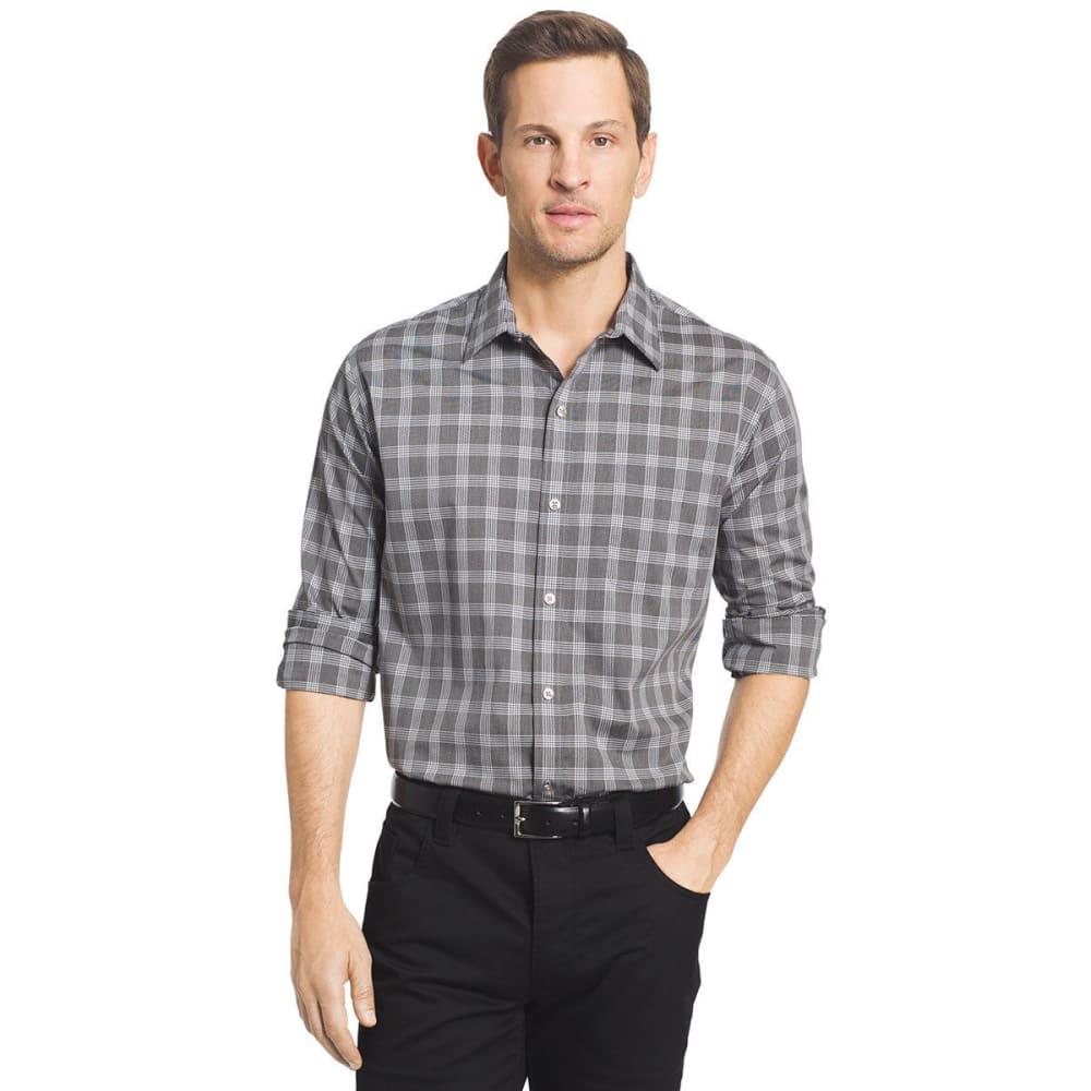 VAN HEUSEN Men's Traveler Plaid Long Sleeve Woven Shirt - GRY DAWN BLU-020