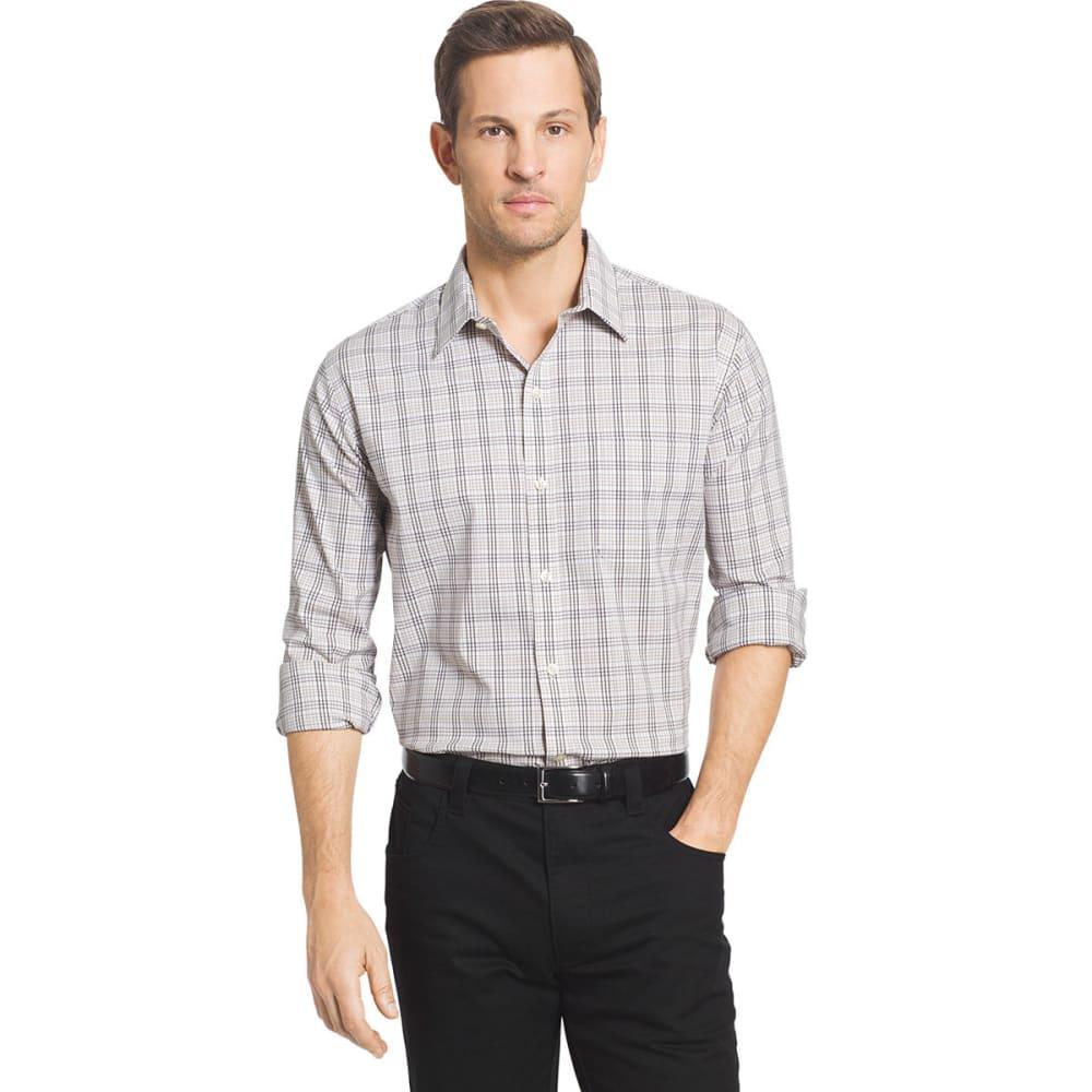 VAN HEUSEN Men's Traveler Long Sleeve Woven Shirt - KHAKI/BLK-267