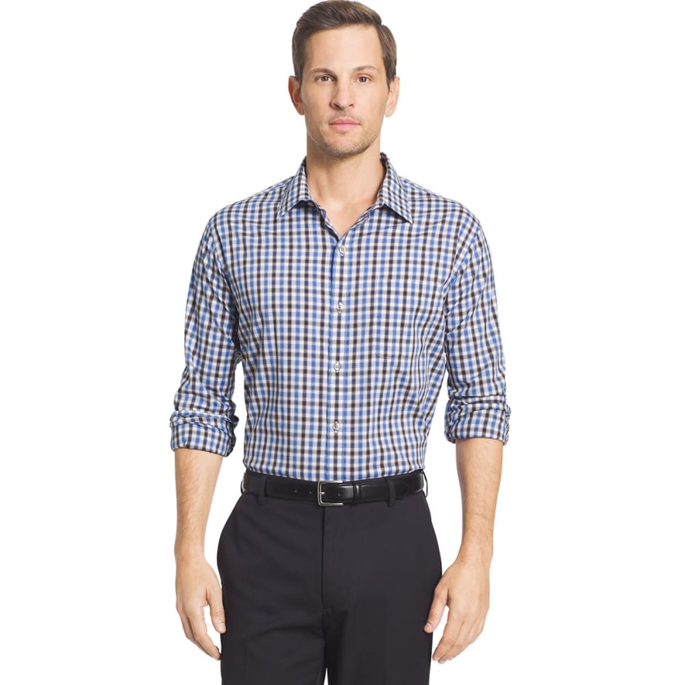 VAN HEUSEN Men's Traveler Tattersall Woven Long-Sleeve Shirt - BLUE DEPTHS-410
