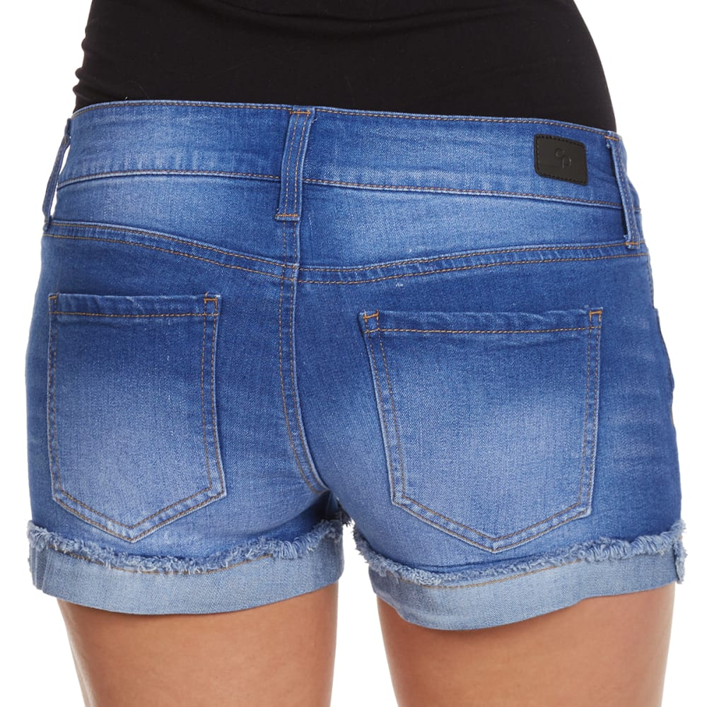 CELEBRITY PINK Juniors' Fray Cuff Shorts - BLUE LAGOON