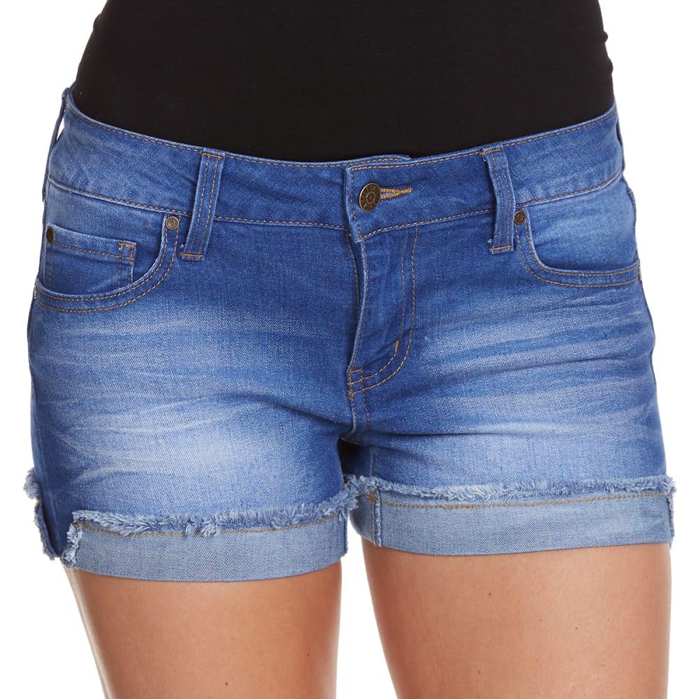 CELEBRITY PINK Juniors' Fray Cuff Shorts - BLUE LAGOON