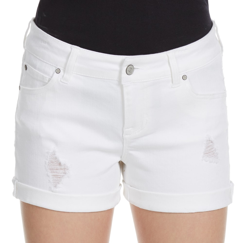 Celebrity Pink Juniors Pigment Dye Roll Cuff Shorts - White, 9