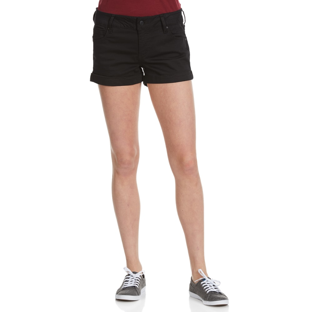 CELEBRITY PINK Juniors' Color Roll Cuff Shorts - BLACK
