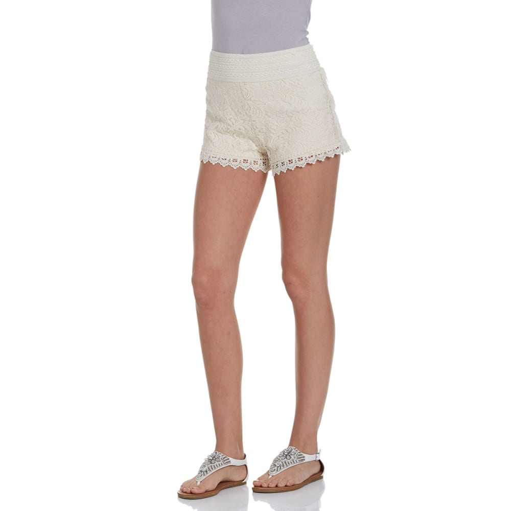 AMBIANCE Juniors' Lace Shorts With Crochet Trim - NATURAL
