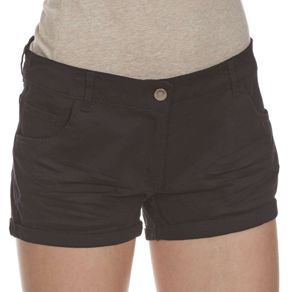 AMBIANCE Juniors' Wrinkled Wash Woven Shorts - BLACK