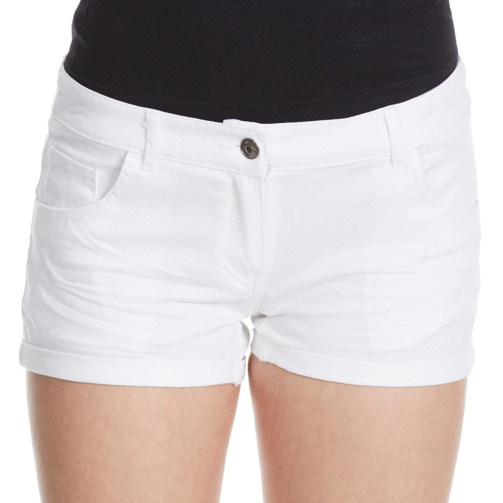 AMBIANCE Juniors' Wrinkled Wash Woven Shorts - WHITE