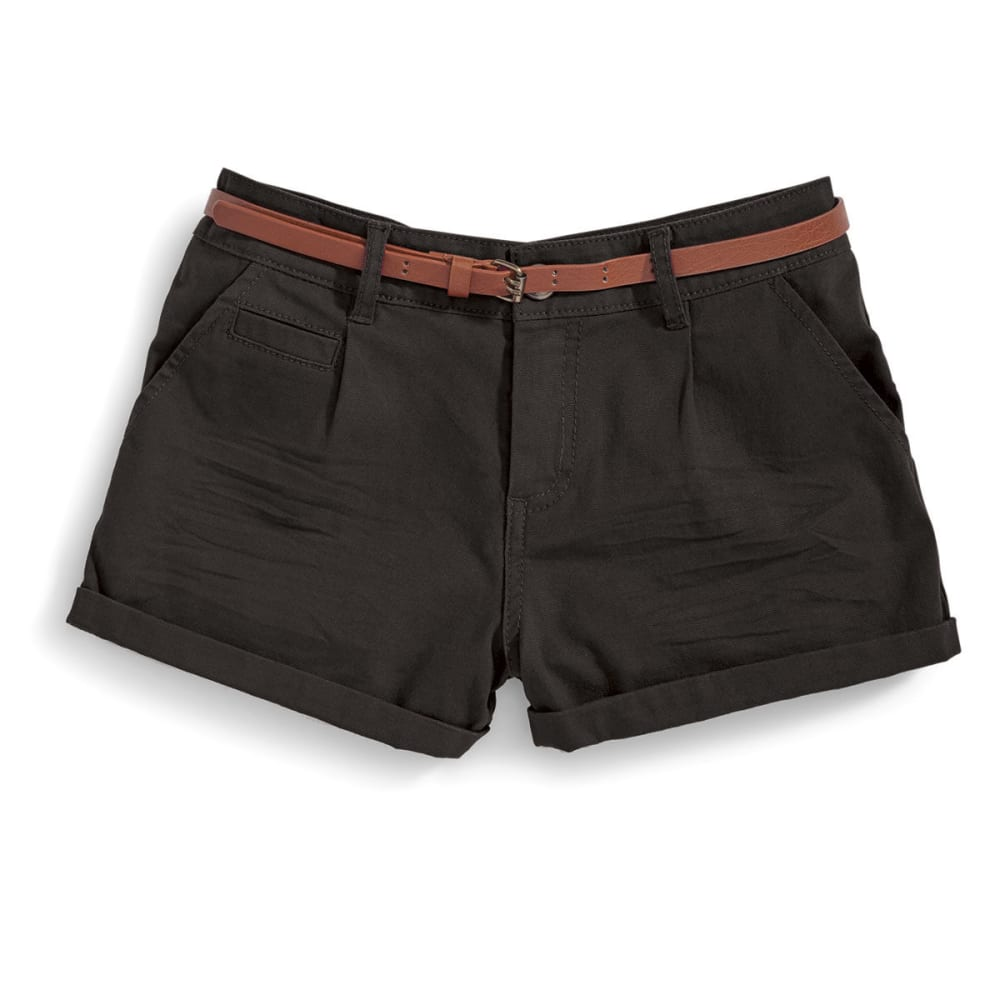 AMBIANCE Juniors' Twill Belted Shorts - BLACK
