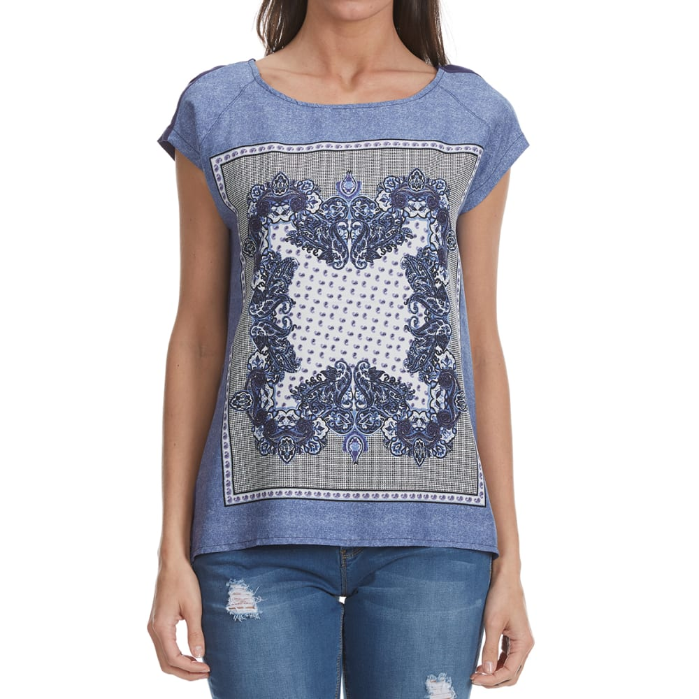 MADISON COUPE Women's Printed Knit Short Sleeve Woven Top - INDIGO