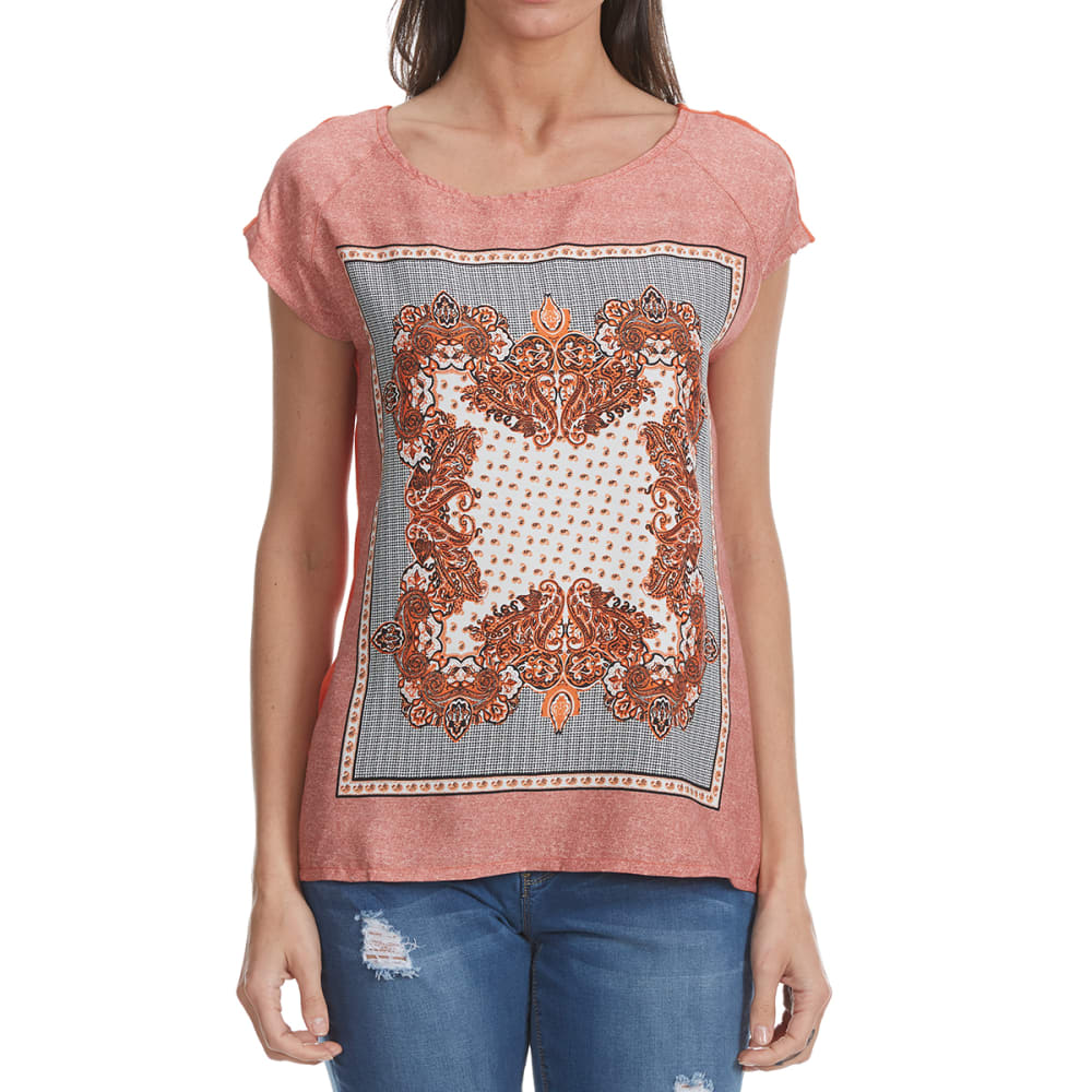 MADISON COUPE Women's Printed Knit Short Sleeve Woven Top - ORANGE