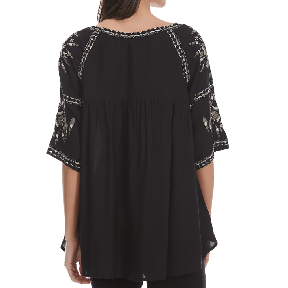 MAISON COUPE Women's Embroidered Woven ¾-Sleeve Shirt with Tassels - BLACK