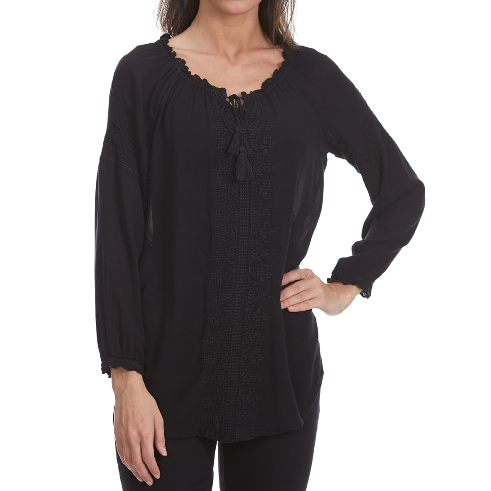 MAISON COUPE Women's Crochet Front Woven Long-Sleeve Shirt with Tassels - BLACK