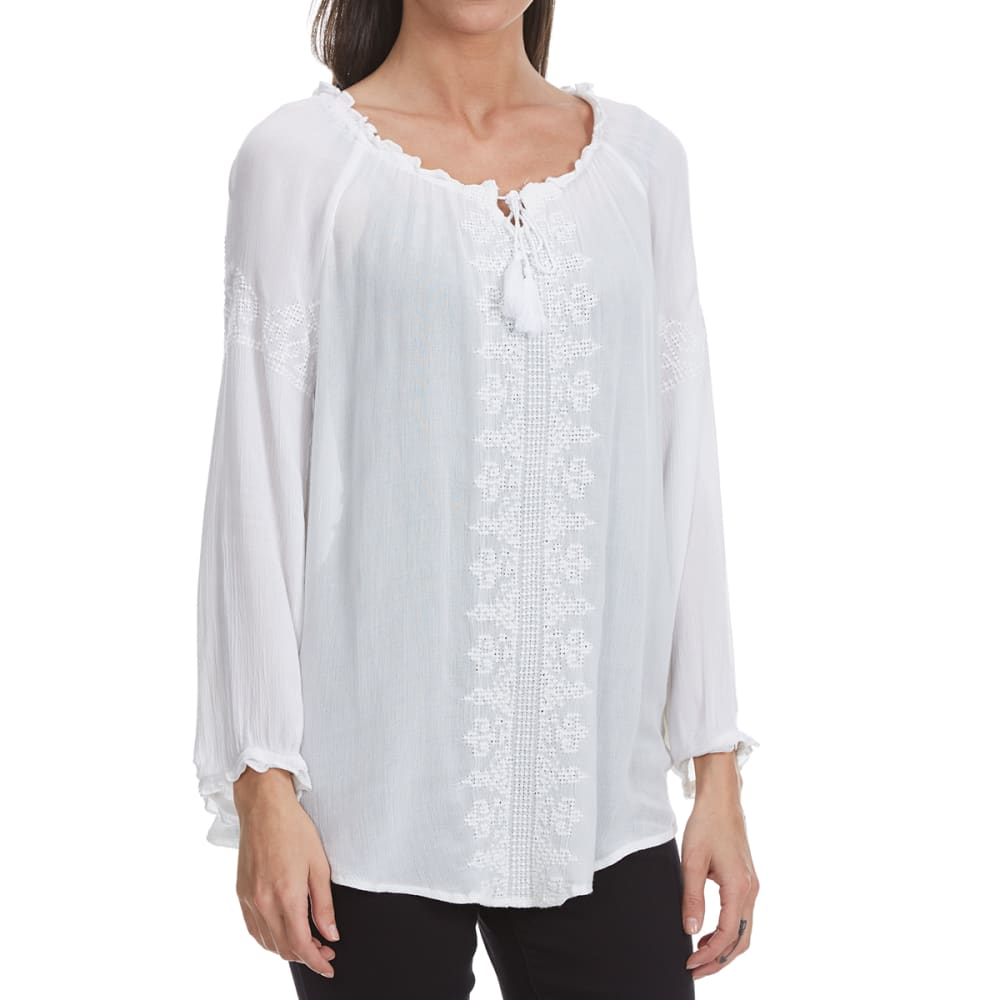 MAISON COUPE Women's Crochet Front Woven Long-Sleeve Shirt with Tassels - OFFWHITE