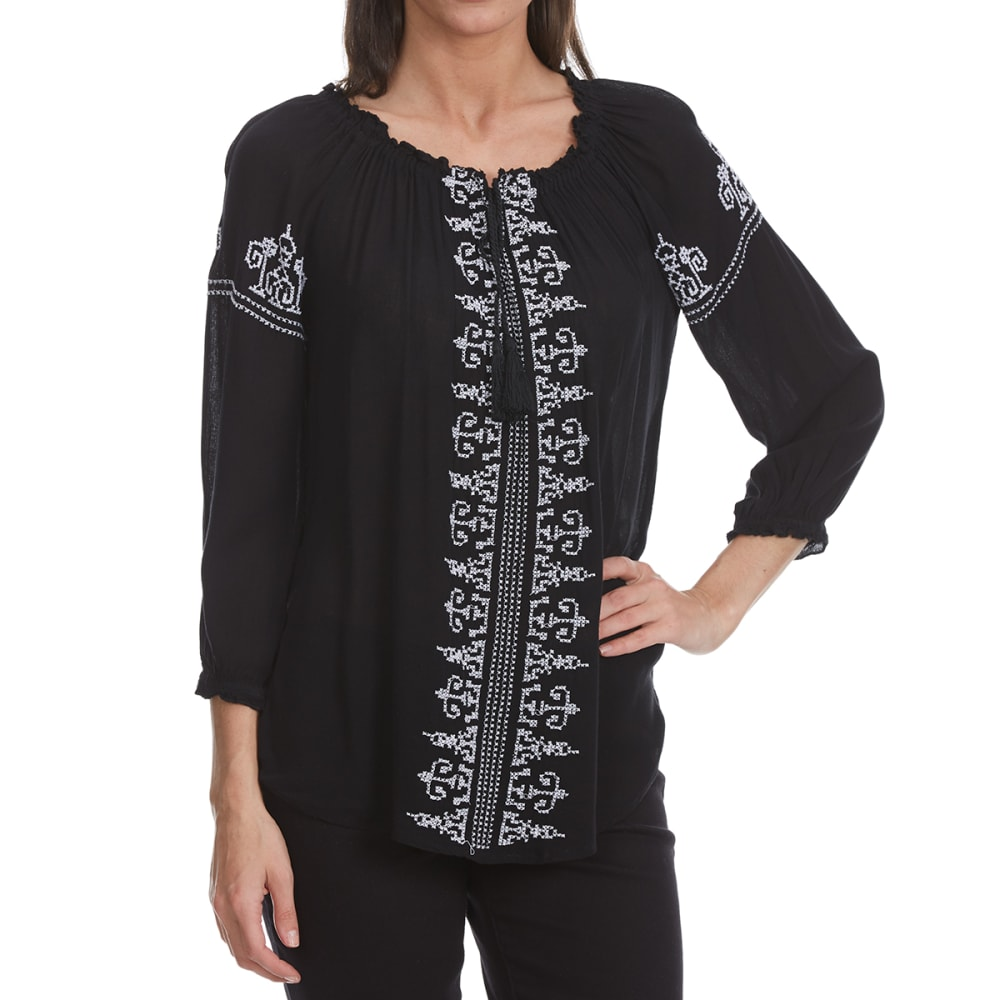 MAISON COUPE Women's Embroidered Front Woven Long-Sleeve Shirt with Tassels - BLACK