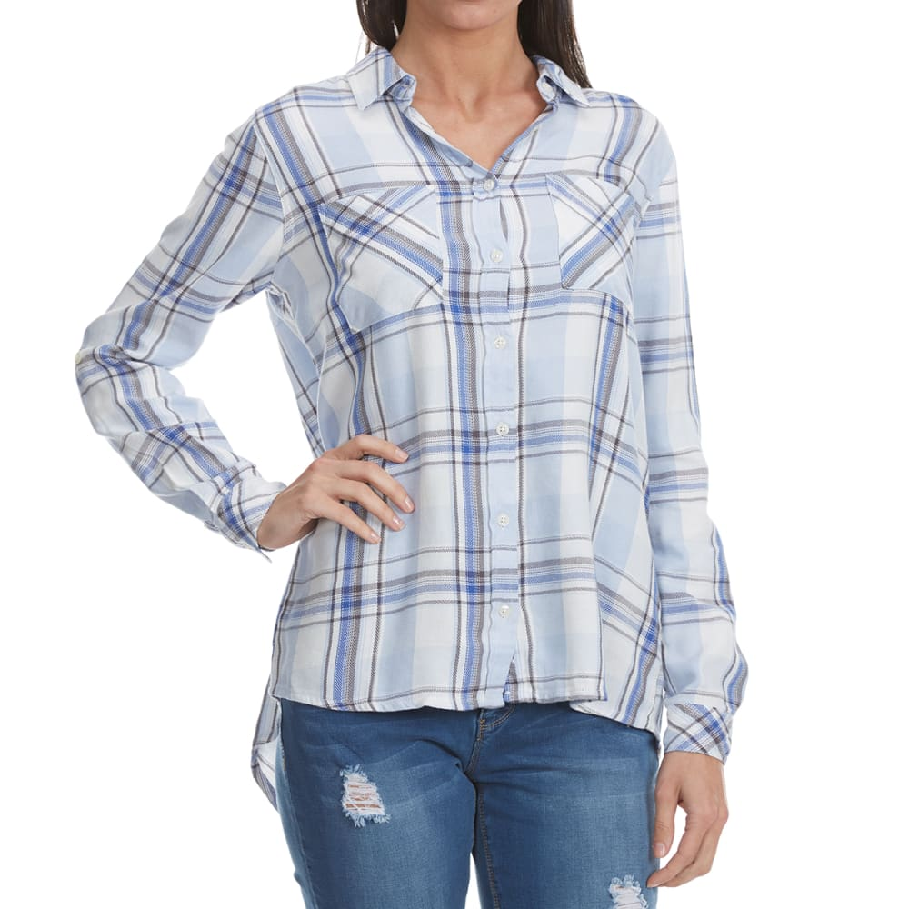 MADISON COUPE Women's Long Sleeve 2 Pocket Plaid Shirt - LIGHT BLUE