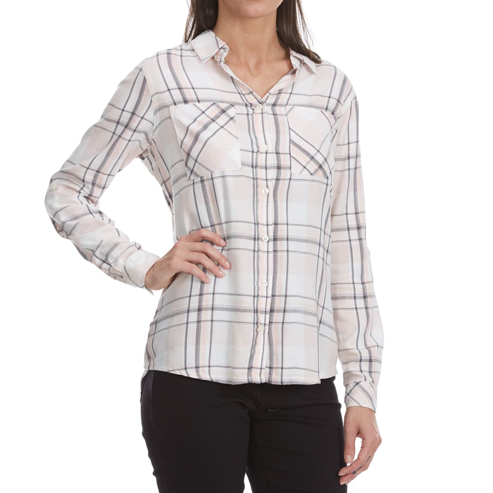 MADISON COUPE Women's Long Sleeve 2 Pocket Plaid Shirt - PEACH