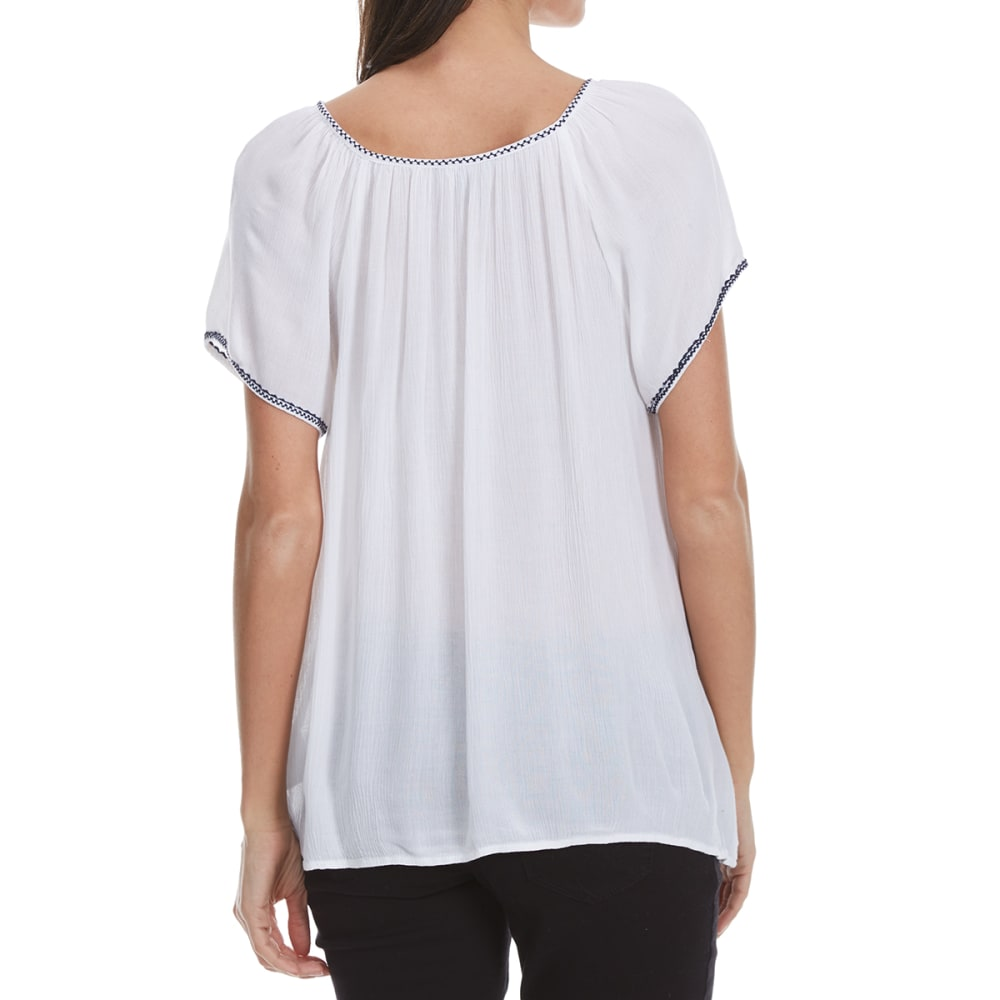 MADISON COUPE Women's Short Sleeve Embroidered Front Woven Top - WHITE