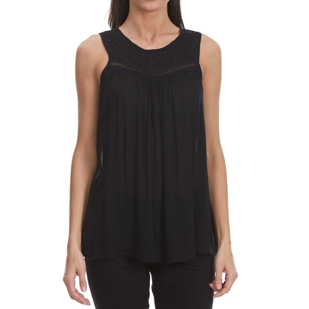 MAISON COUPE Women's Lace Yoke High-Neck Tank Top - BLACK