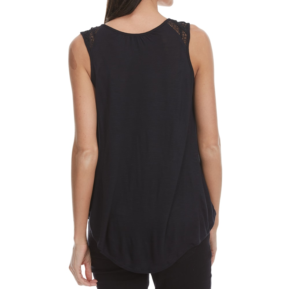 MADISON COUPE Women's Crochet Shoulder Tank - BLACK