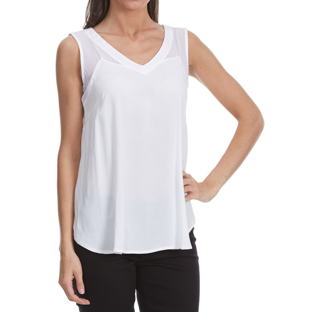 MAISON COUPE Women's Woven Shark Bite Hem Tank Top - WHITE