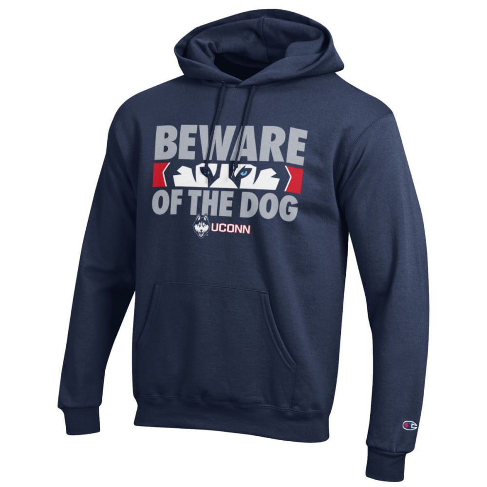 CHAMPION Men's UConn Beware of Dog Pullover Hoodie - NAVY