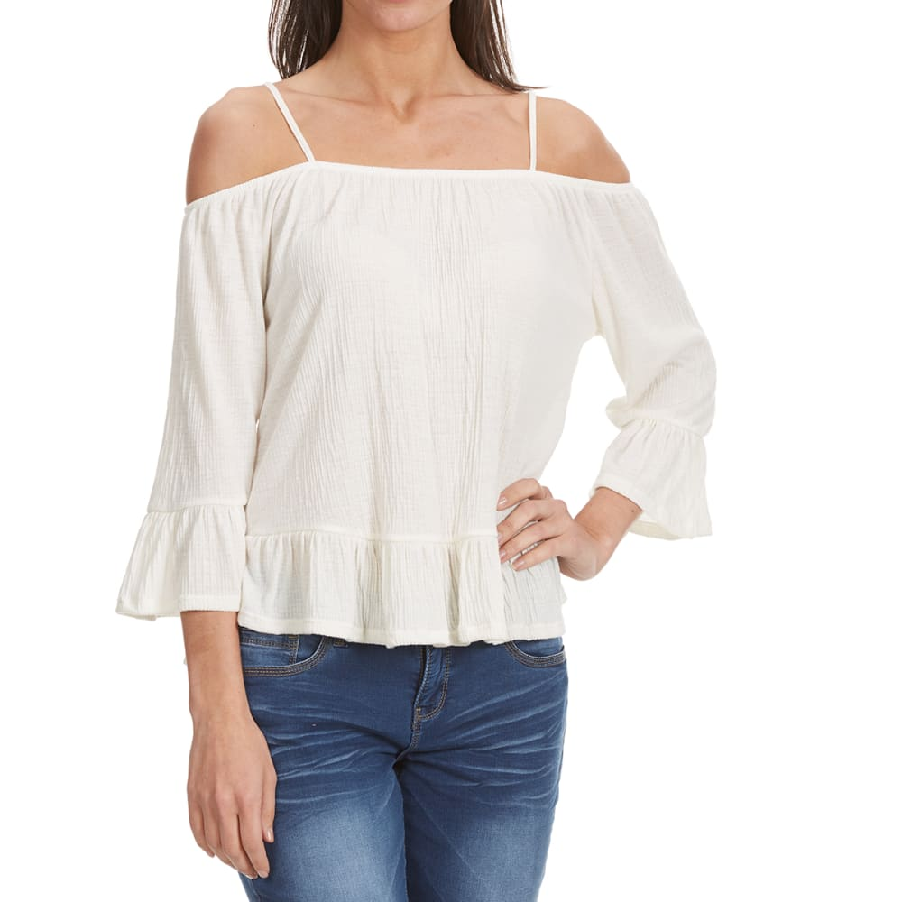 THYME & HONEY Women's Cold-Shoulder Top with Ruffled Hem - EGGWHITE