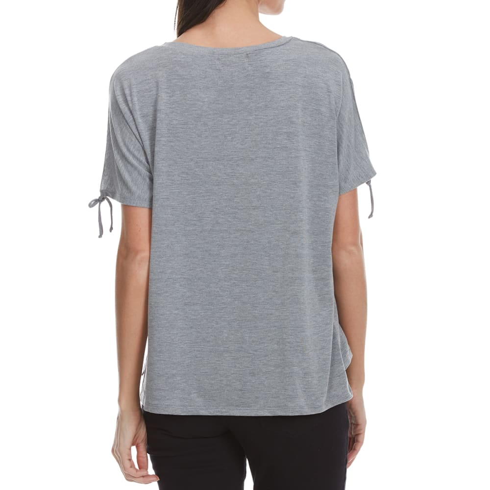 THYME & HONEY Women's Solid Tie Short Sleeve Shirt - HEATHER GREY