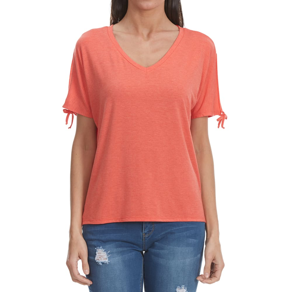 THYME & HONEY Women's Solid Tie Short Sleeve Shirt - NEW HEATHER CORAL