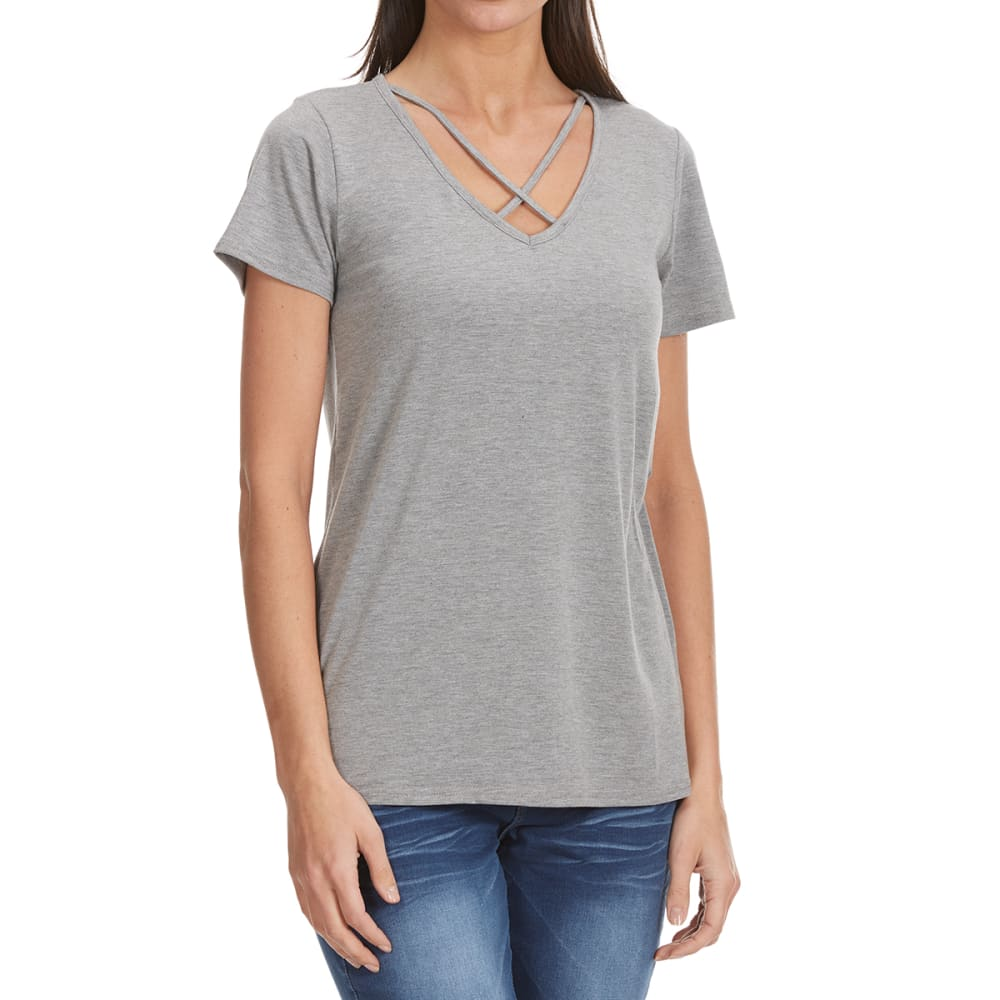 THYME & HONEY Women's X-Front Solid Short-Sleeve Tee - HEATHER GREY