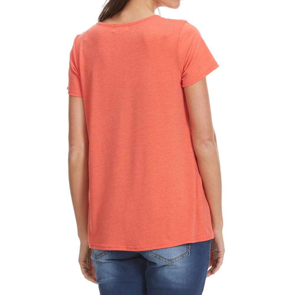 THYME & HONEY Women's X-Front Solid Short-Sleeve Tee - SUGAR CORAL